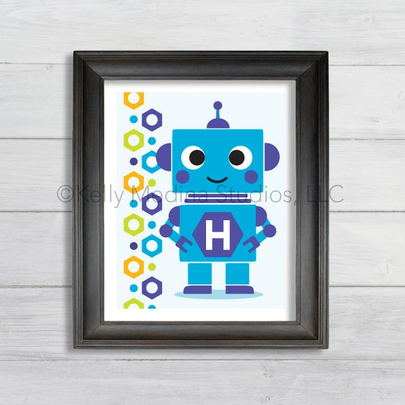 Etsy Personalized Wall Decor : Items similar to personalized robot boy wall art print