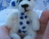 needle felted blue and white artist bear ooak
