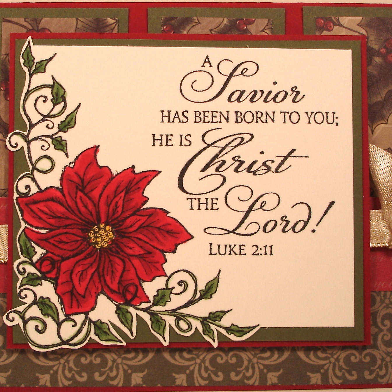 Religious Christmas Card With Bible Verse And Poinsettia