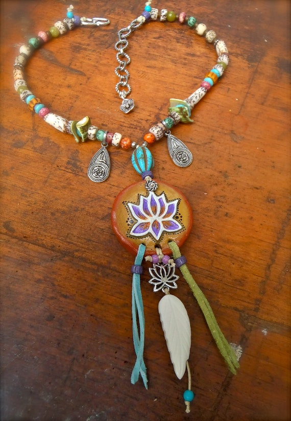 Boho GYPSY LOTUS necklace, Colorful necklace, Spiritual necklace, Yoga jewelry, hand made jewelry