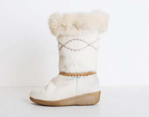 Size 7 Vintage 80s Fox Fur Tecnica Ski Boots 37