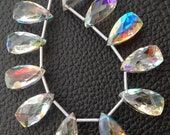 Brand New, FIRE RAINBOW Moonstone Quartz Faceted Pyramid Shape Briolettes, Superb FIRE Flashy,4 Matched Pairs,16x8mm