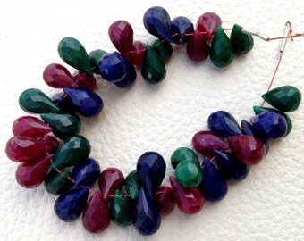 New Arrival, Dyed Natural Ruby, Emerald & Sapphire Faceted Drops Shape briolettes,9-11mm, Finest Item