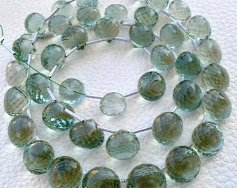 8 Inch Strand,Very-Very-Finest Quality AAA,Green Amethyst Faceted Onions Shaped Briolettes, 8-9mm Long size,GORGEOUS