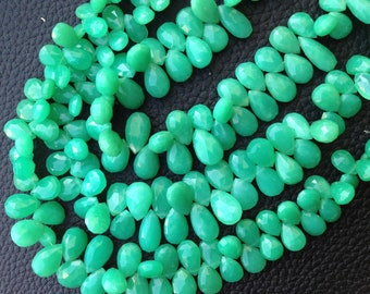 Full 8 Inch Strand, Unique CHRYSOPRASE Chalcedony Faceted Pear Shape Briolette,9-10mm, Great Item,Finest Quality