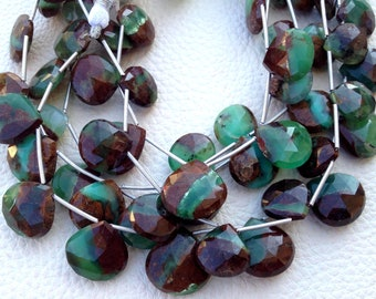 New Arrival, Full 8 Inch Strand Rare Quality Bi-Chrysoprase Faceted Heart, 9-10mm Larger Size,Great Price