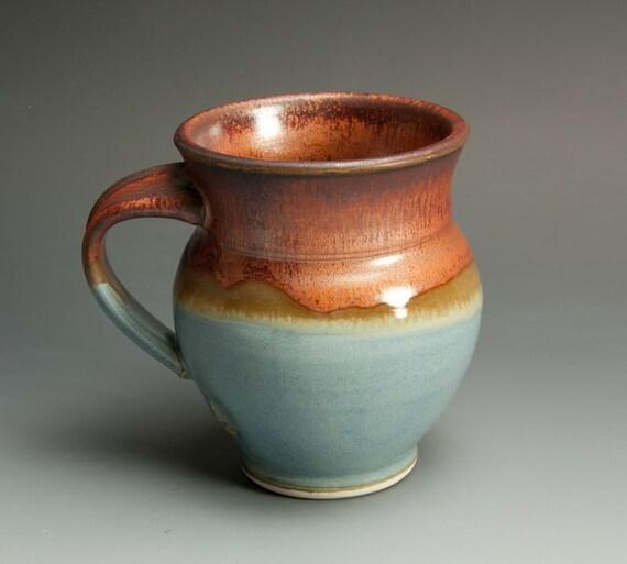 Porcelain handcrafted coffee mug or tea cup soft slate blue lg - 650
