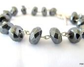 Gunmetal hematite bracelet, large faceted gray gemstone tennis bracelet, stacker bracelet