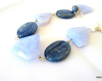 Blue lace agate bracelet with kyanite in solid silver, blue tennis bracelet,  gift under 50