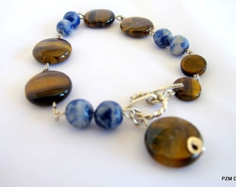 Tigers eye tribal fusion tennis bracelet with blue sodalite gemstones, gift under 40