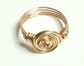 Spiral Merlins Gold Handmade Wire Wrapped Ring Sizes 3-14