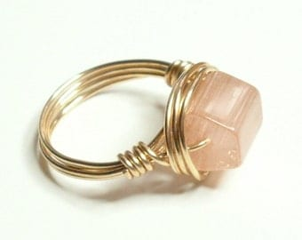 Pink Merlin's Gold Handmade Wire Wrapped Ring Sizes 1-14