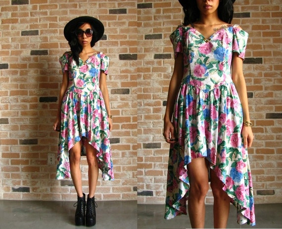 80s floral dress - upcycled asymmetric hi lo hem - sweetheart neckline- off the shoulder Prom Dress Small S