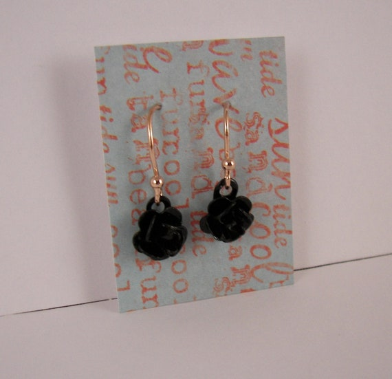 Black Rose Small Cute dangle earrings Rose Gold The Perfect gift
