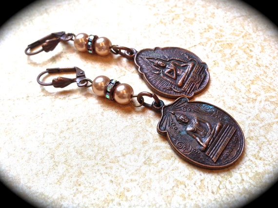 Coachella dangle medallion earrings, Handmade with vintage Buddha Charms