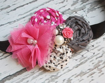 Pink Happy Thoughts - chiffon flower and rosette headband with netting, rhinestone and pearls
