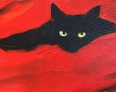 Black Cat on red background - RichTraditions