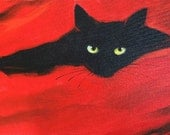 Black Cat on red background