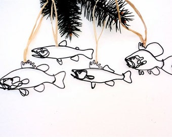 Fish Wire Ornaments - Set of 4