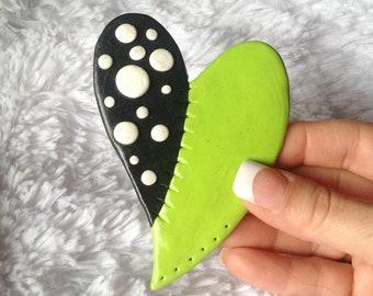 Polymer Clay Green and Black Heart Fridge Magnet, Heart Fridge Magnet, Black/White Pocidot and Green Heart