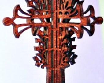 3-D Wood Vine Cross Ornament