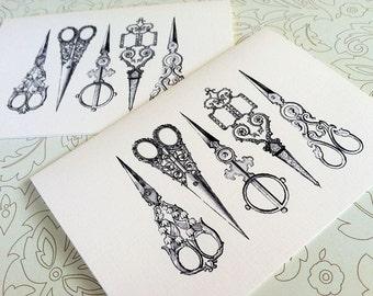 Vintage Sewing Card Set, Note Cards, Stationery, Set of 8