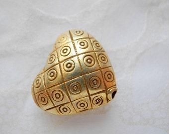 24k Gold Vermeil Beads Karen Hill Tribe Silver Puffy Heart Circles Dots Bright 19mm 21mm