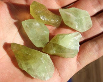 5 Green Calcite Crystals Natural Rough Medium Semi Precious Stone Specimen