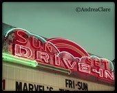 Retro Drive In Theater Sign, Fine Art Photography, Mint, Summer Movie Theatre, nostalgia, neon, sign, print, retro, car, movies, road