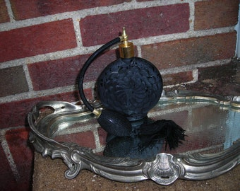 vintage black glass flower perfume bottle
