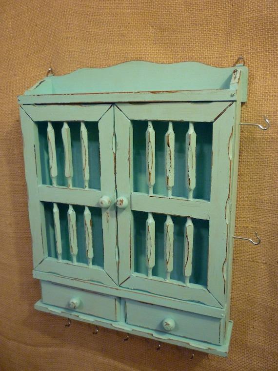 Upcycled Jewelry Organizing Display (Aqua Cabinet)