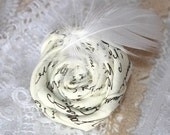 Boutonniere/hair clip/favors Jane Austen inspired love letter fabric rosette