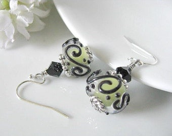 Lime Green Black Scroll Lampwork Earrings With Black Bicone Crystals On Ear Hooks, Holiday Gift Idea, Gift For Her