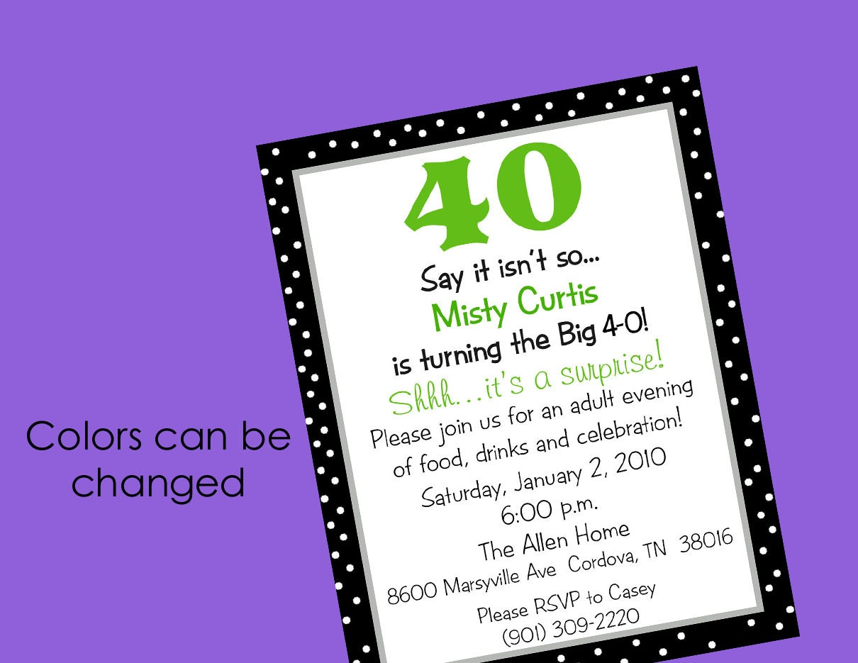 Similiar Forty Birthday Wording Keywords – Surprise Party Invite Wording