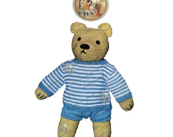 Teddy Bear with Sweater and Shorts - Vintage Knitting Pattern - PrettyPatternsPlease - PDF Instant Download