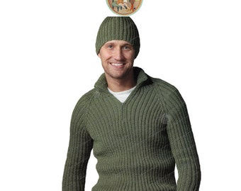 Men's Pull Over Zip Neck Sweater and Hat Pattern to Knit - Vintage Digital Pattern PDF - PrettyPatterns Please