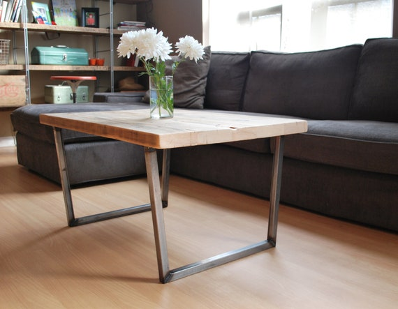 Items Similar To Wood Coffee Table With Square Steel Legs Made Of Reclaimed Wood Standard