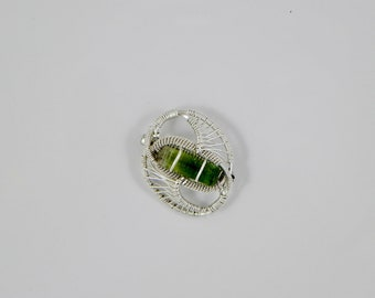Tourmaline Crystal Sterling Argentium Silver Wire Wrap Pins