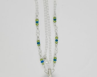Peridot and Apaptite Sterling Argentium Silver Wire Wrap Necklace