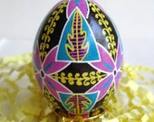 Blue Oak leafs Pysanka, Ukrainian Easter eggs
