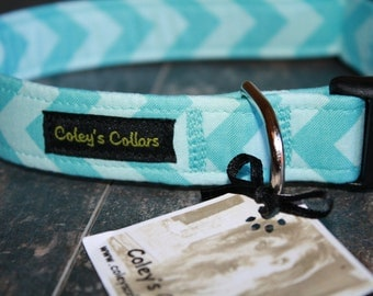 "Dog Collar ""The Chevron in Aqua"""