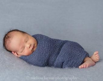 Newborn Stretch Wrap, Newborn Props, Newborn Boy Props,  Dusty Blue Stretchy Cocoon Wrap, Newborn Props, Boy Props, Stretchy Knit Wrap, RTS