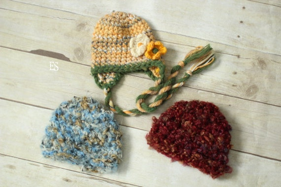 SALE THREE Baby HATS,  Baby Boy and Girl Crochet Hat, Newborn Hat, Great for Photo Prop