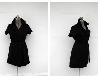 Emanuel Ungaro Black Trenchcoat Dress Vintage 1980s