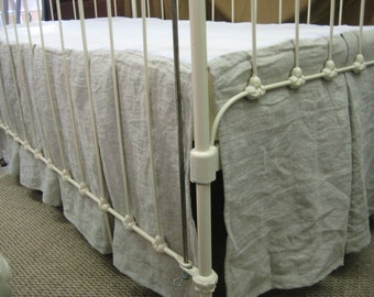Washed Linen Tailored Crib Skirt Separate-Pleated Crib Skirt-Inverted Box Pleat Crib Skirt-Your Linen Color Choice-Crib Skirt Made to Order