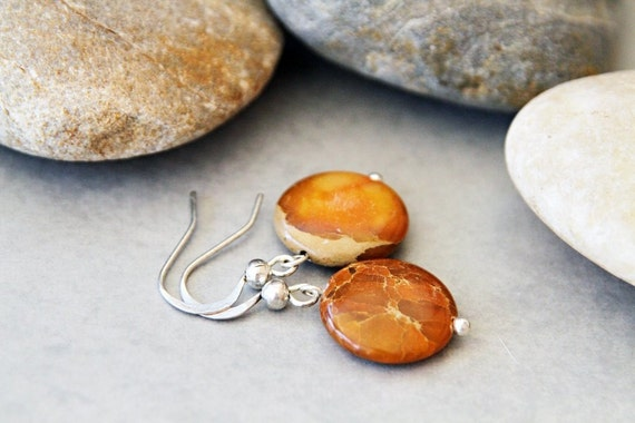 Autumn Orange -  Sediment Jasper Earrings