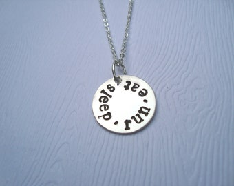 Sleep Eat Run Stamped Sterling Silver Necklace