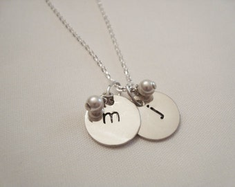 "Two Initial Hand Stamped Sterling Silver Necklace with Pearl or Crystal, 1/2"" discs"