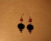 Moonstone, Amber and Black Earrings