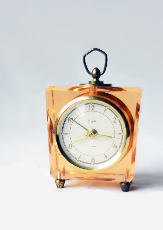 Vintage Pink Lucite Mechanical Clock